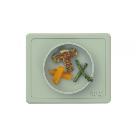 EZPZ Silikonowa miseczka z podkładką 2w1 Mini Bowl pastelowa zieleń