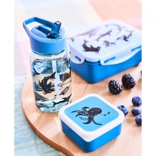 Petit Monkey - Bidon transparentny ze składanym ustnikiem i słomką Deep Blue