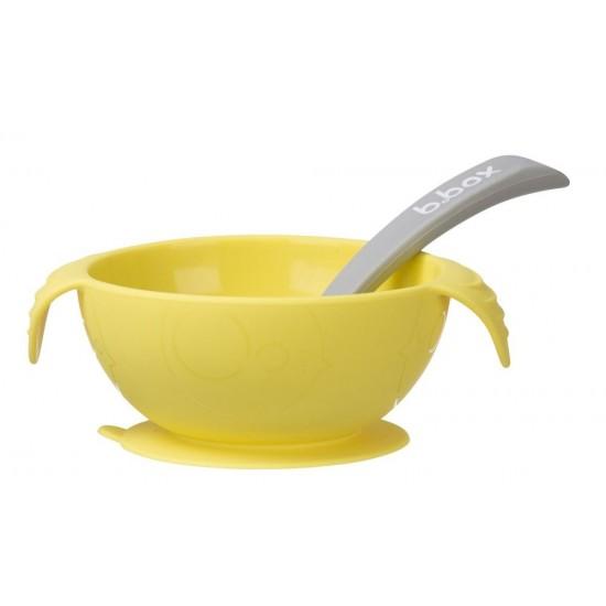 Silikonowa miseczka z przyssawką i łyżeczką, Lemon Sherbet, b.box