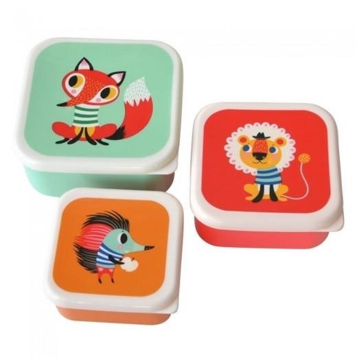 Petit Monkey - Zestaw 3 śniadaniówek lunchbox Lis, Lew, Jeż