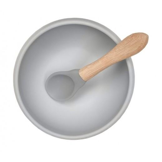 MINIKOIOI Miseczka silikonowa z pokrywką szara