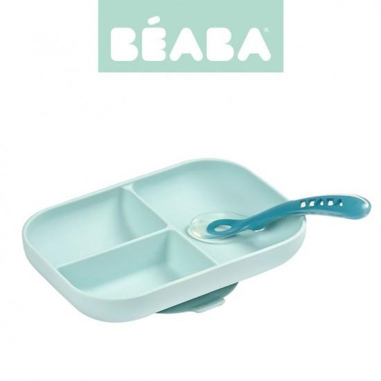 Beaba Komplet naczyń z silikonu trójdzielny talerz z przyssawką + łyżeczka Blue