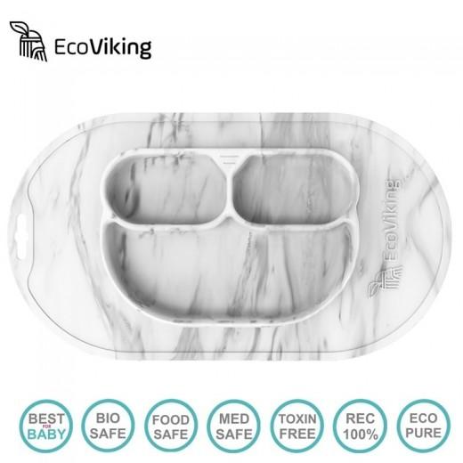 Eco Viking BLW 4 in 1 Eating Helper Owl Talerzyk Murble