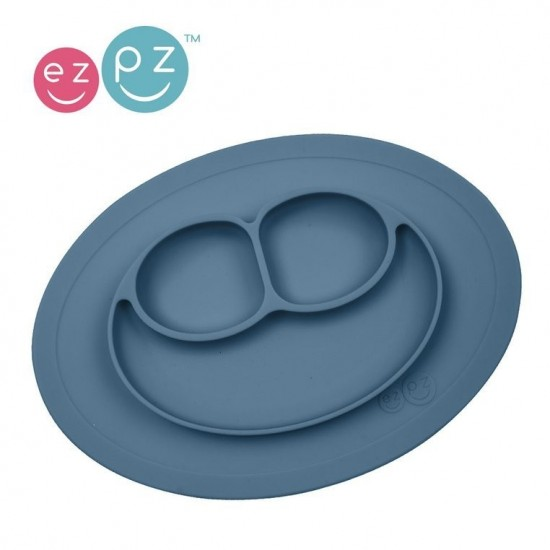 EZPZ Silikonowy talerzyk z podkładką mały 2w1 Mini Mat ciemny niebieski