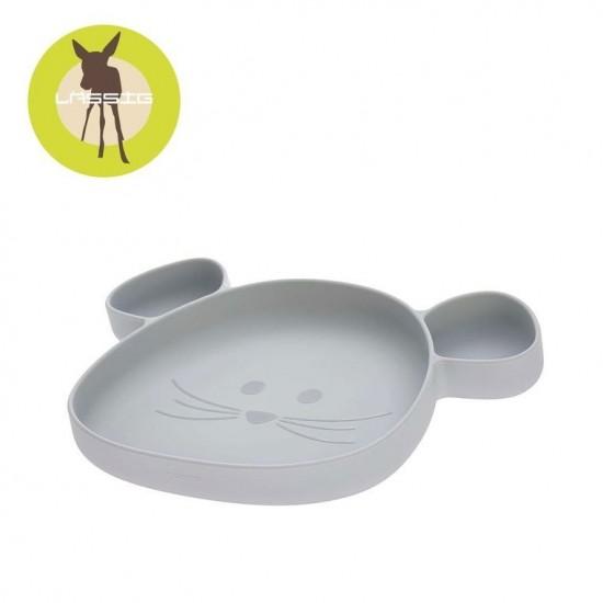 Lassig Talerz silikonowy z przyssawką Little Chums Mysz szary