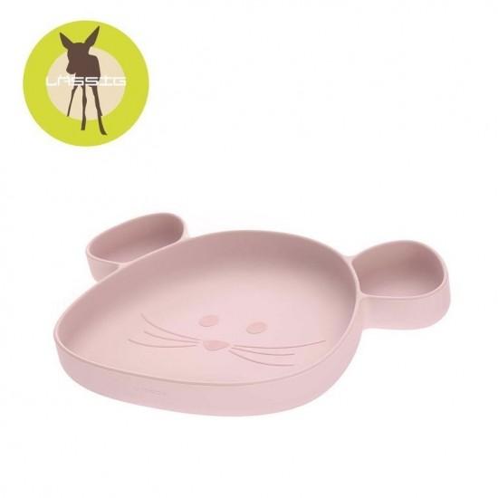 Lassig Talerz silikonowy z przyssawką Little Chums Mysz różowy