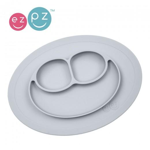 EZPZ - Silikonowy Talerzyk z Podkładką Mały 2w1 Mini Mat Pastelowy Szary